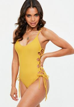Yellow Lace Up Swimsuit