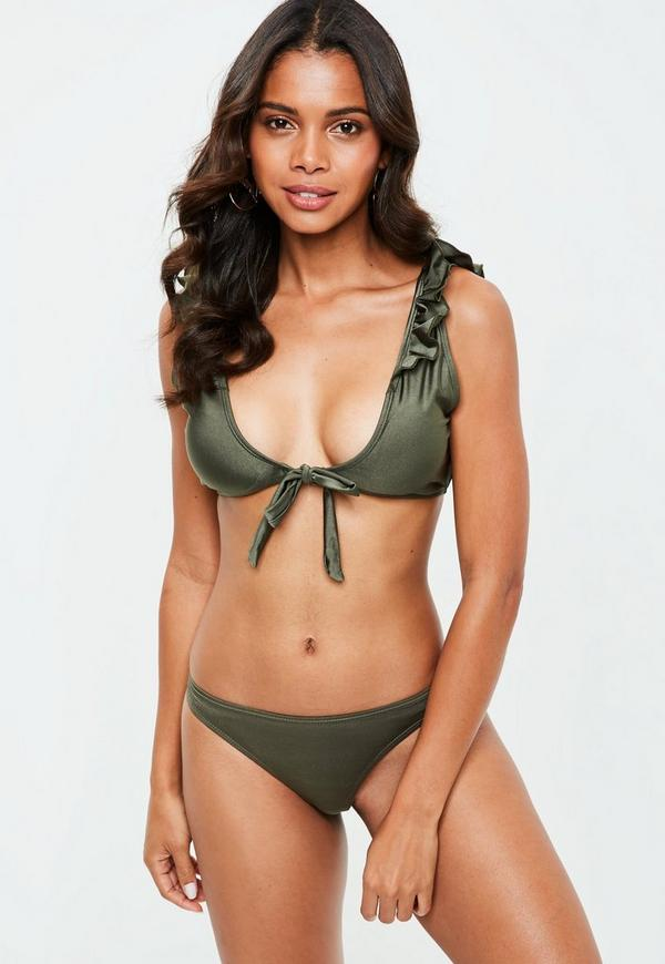 c34ea85deaa ... Khaki Frill Tie Front Bikini Top - Mix   Match. Previous Next