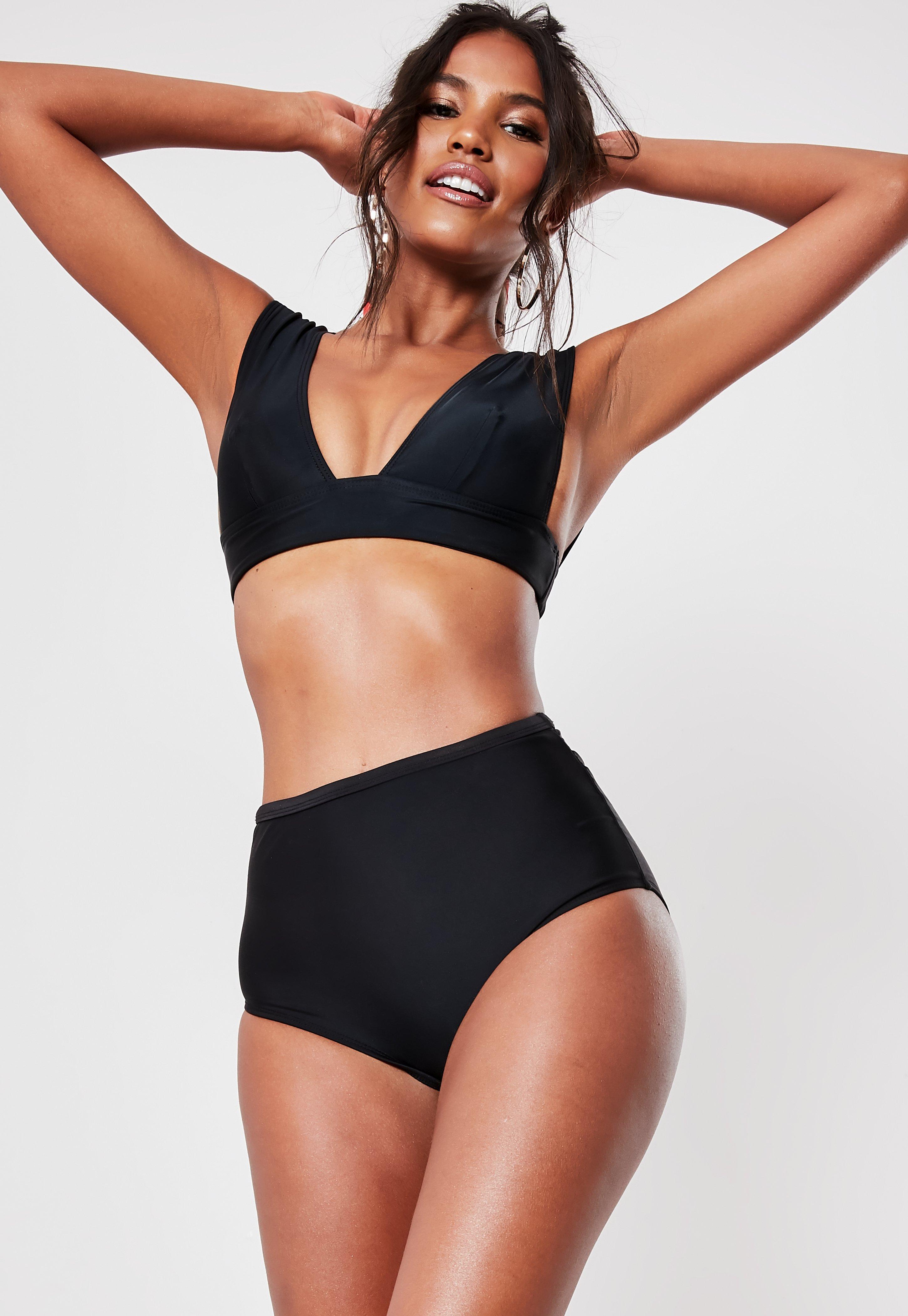 255e7b1b6ff Black Mix And Match Super Plunge Bikini Top | Missguided Australia