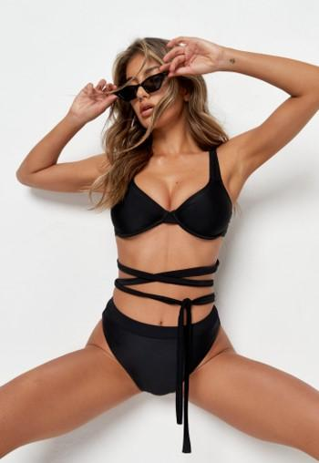 Our High waisted Black bikini bottoms are a must have this summer, mix & max our Baudouin bikini bottoms with our range of bikini tops! These bikini bottoms are high waisted and feature a high cut hip to ensure a flattering fit!
