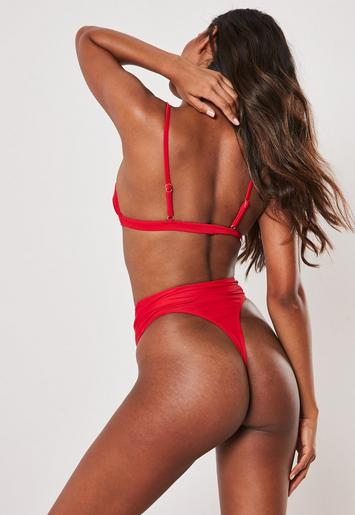 aa9acd6f1cffe Red Mix And Match High Waisted Thong Bikini Bottoms | Missguided