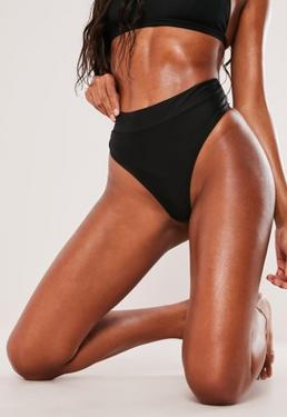 b31456ea9a150 Black Mix And Match High Waisted Thong Bikini Bottoms