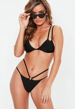Black Minimal Bandage Strappy Bikini Set