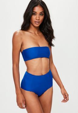 Top bikini palabra de honor en azul