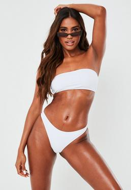 White Clean Bandeau Bikini Top - Mix & Match