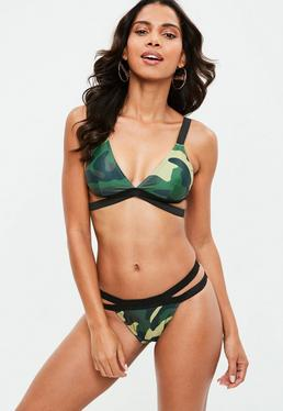 Green Double Strap Camo Bikini Set