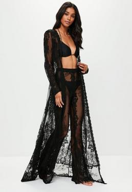 Black Eyelash Lace Kimono