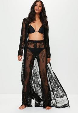 Black Premium Lace Beach Trousers