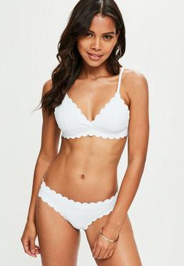White Scallop Triangle Bikini Top - Mix & Match