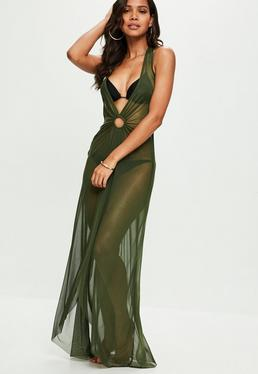 Green Mesh Maxi Cover Up