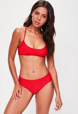 Red High Waist Bikini Bottoms - Mix & Match