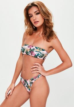 Mix&Match - Top bikini palabra de honor estampado en rosa