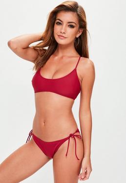 Burgundy Sporty Cross Back Bikini Top - Mix & Match