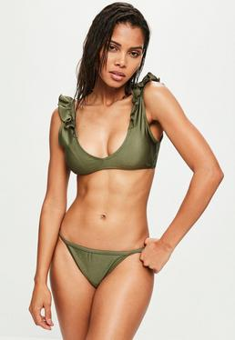 Khaki Frill Shoulder Bikini Top - Mix & Match