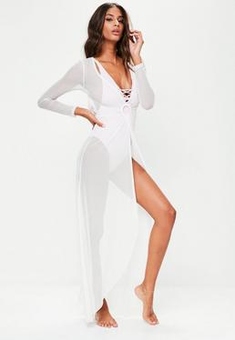White Mesh Maxi Cover Up Dress