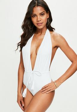 White Deep Plunge Backless Swimsuit