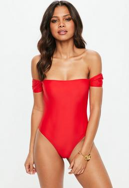 Red Bardot High Leg Swimsuit