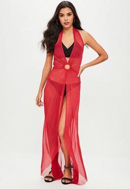 Vestido estilo túnica de cuello halter con anillo frontal en rojo