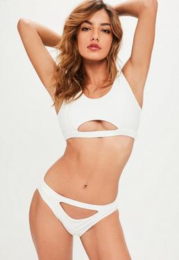 White Textured Cut Out Bikini