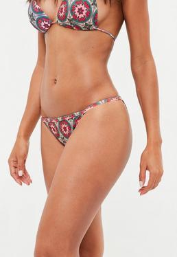 Pink Printed Tanga Bikini Bottoms - Mix and Match