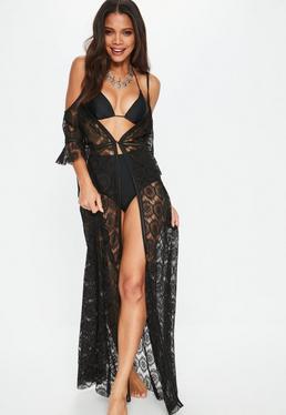 Black Lace Cold Shoulder Kimono Dress