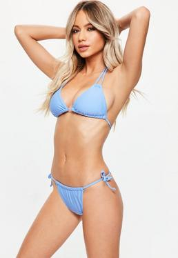 Blue Triangle Minimal String Tie Bikini Set