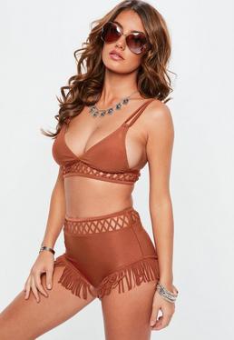 Tan Tassel Trim High Waisted Bikini Set
