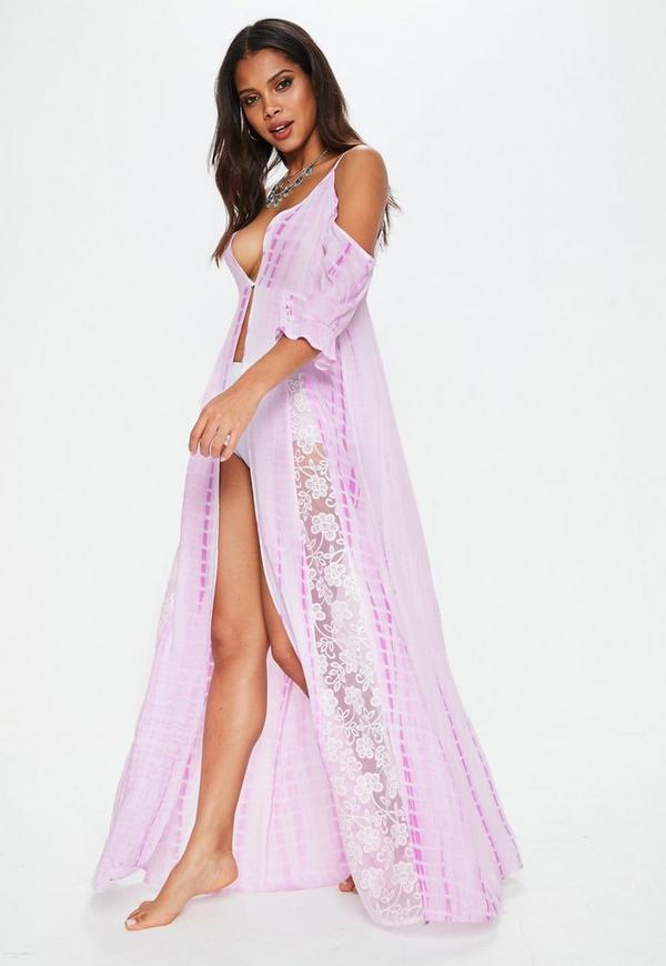 Pink Cold Shoulder Lace Insert Maxi Dress Cover Up Missguided