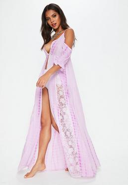 Pink Cold Shoulder Lace Insert Maxi Dress Cover Up