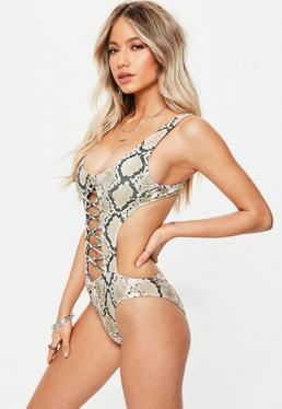 Grey Snake Print Extreme Cut Out Lace Up Swimsuit