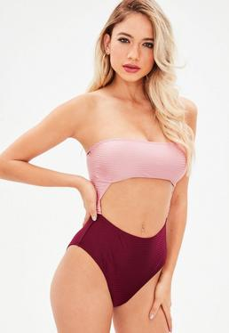 Burgundy Textured Cut Out Two Tone Swimsuit