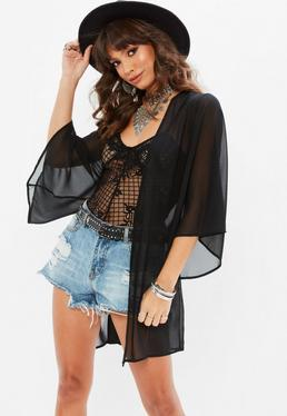 Vestido kimono en negro