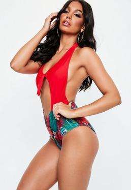 Red Tie Front Halterneck Palm Print Swimsuit