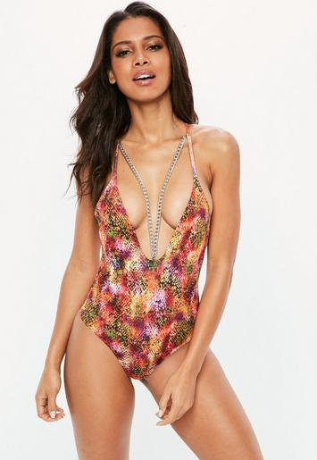 Pink Snake Print Chain Detail Swimsuit