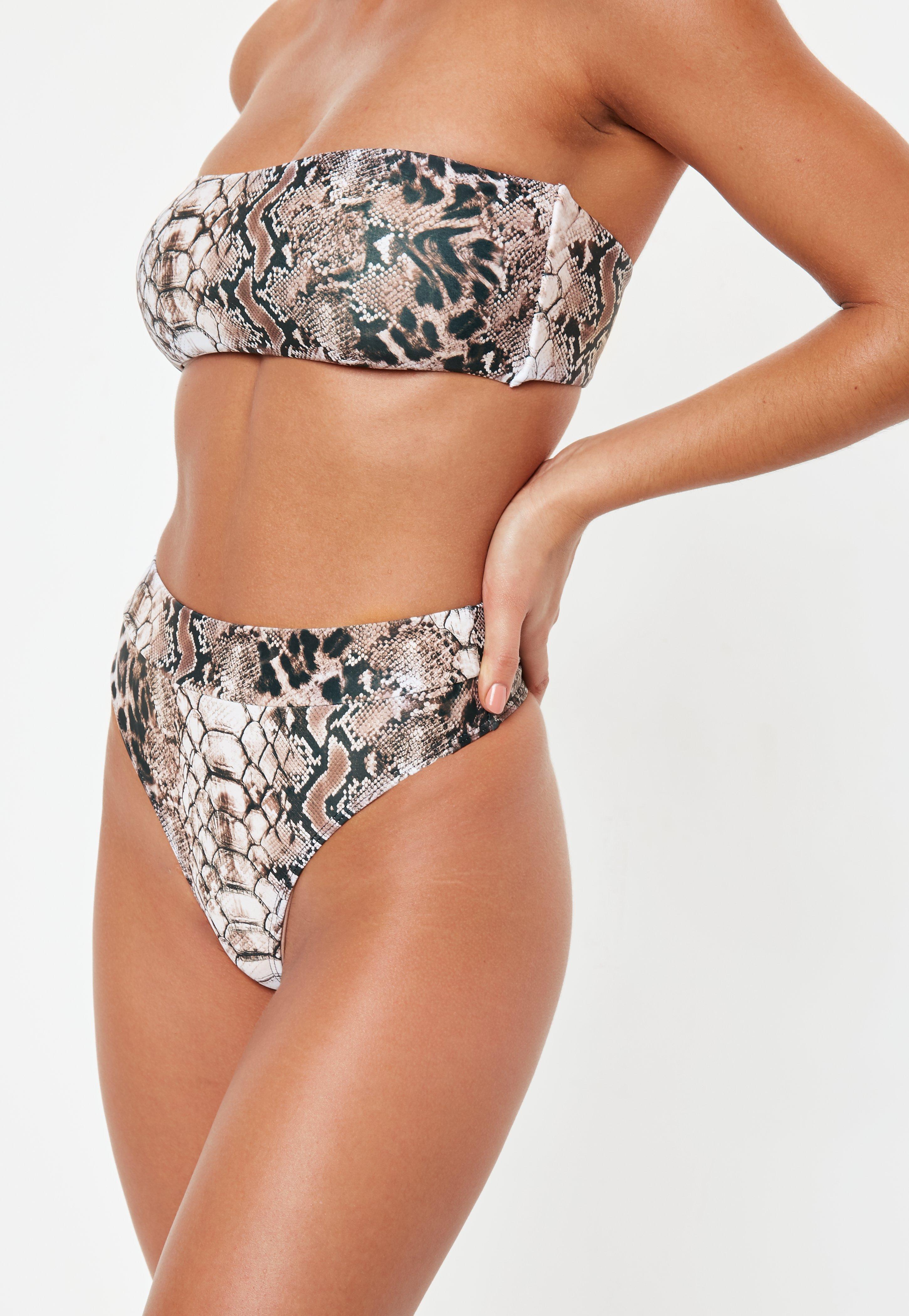 66e1f282e4 Brown Snakeskin Highwaisted Thong Bikini Bottoms - Mix And Match |  Missguided