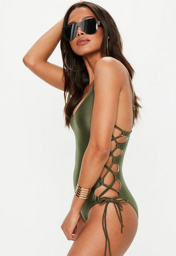 Khaki High Leg Lace Up Swimsuit by Missguided