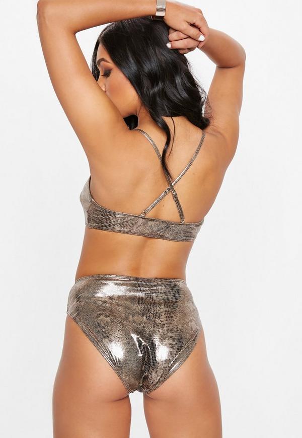 Gold Metallic Snake High Waist Bikini Set Missguided