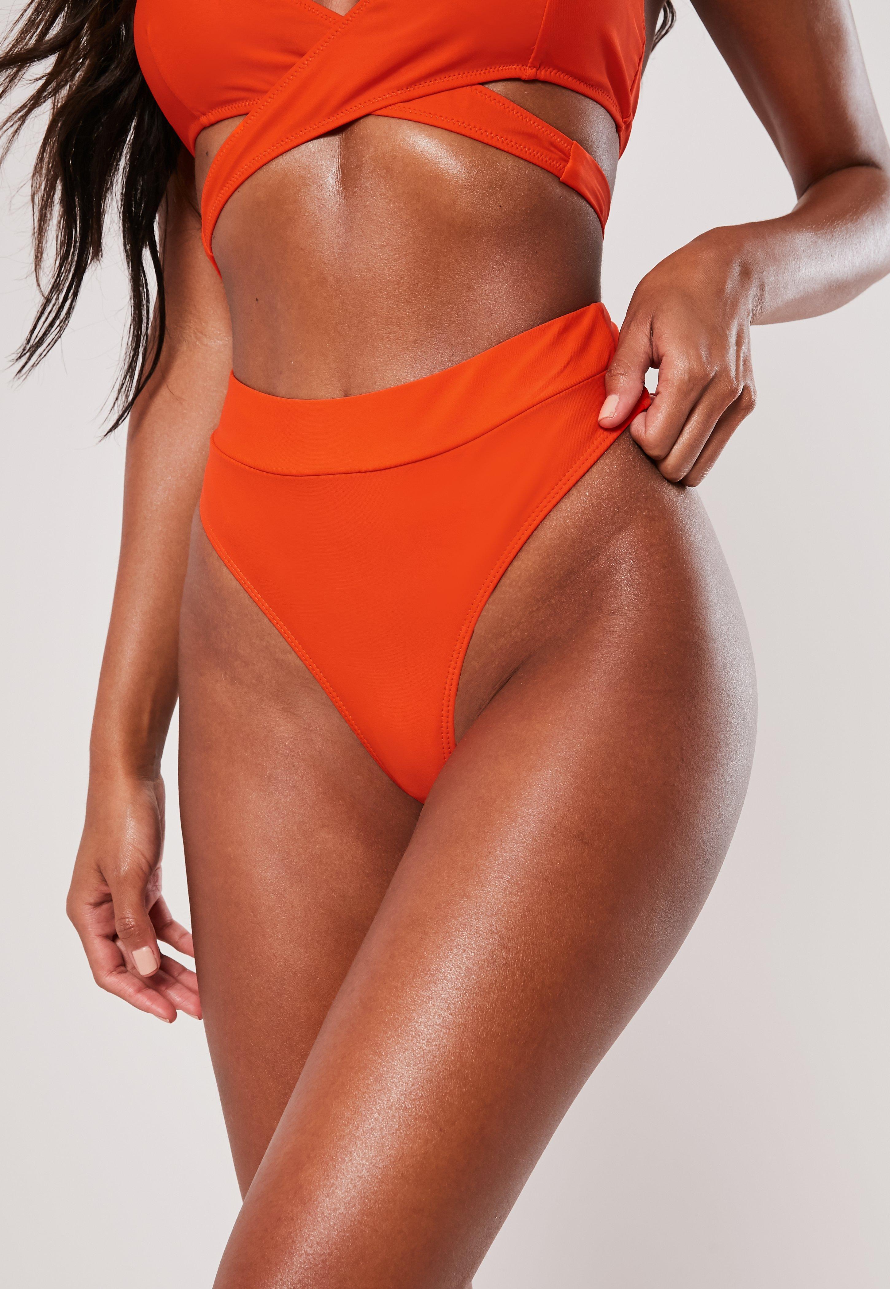 fc10b3bd95c Orange Mix And Match High Waist Thong Bikini Bottoms