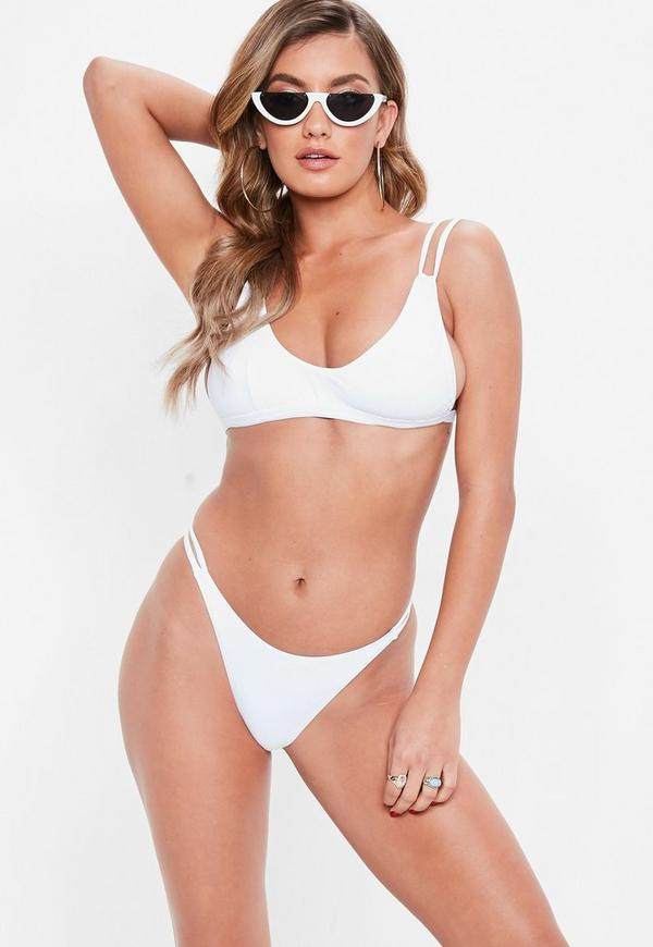 White Minimal High Leg Thong Bikini Set by Missguided
