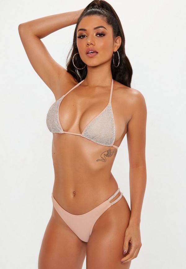 e914cb45c55 Pink Diamante Triangle Bikini Top