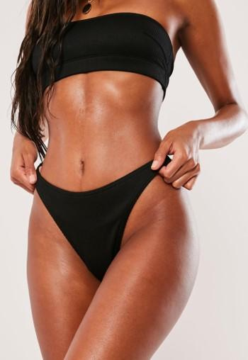 e90abf6d20 Black Mix And Match Rib High Leg Boomerang Bikini Bottoms | Missguided  Australia