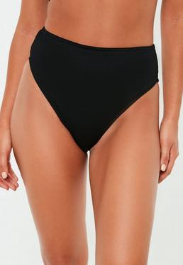 de bikini noir dans un tissu côtelé, Noir
