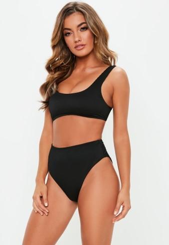 df21087091e84 ... High Leg Bikini Bottoms. $20.00. Black Rib Mix And Match Scoop Neck  Bikini Top