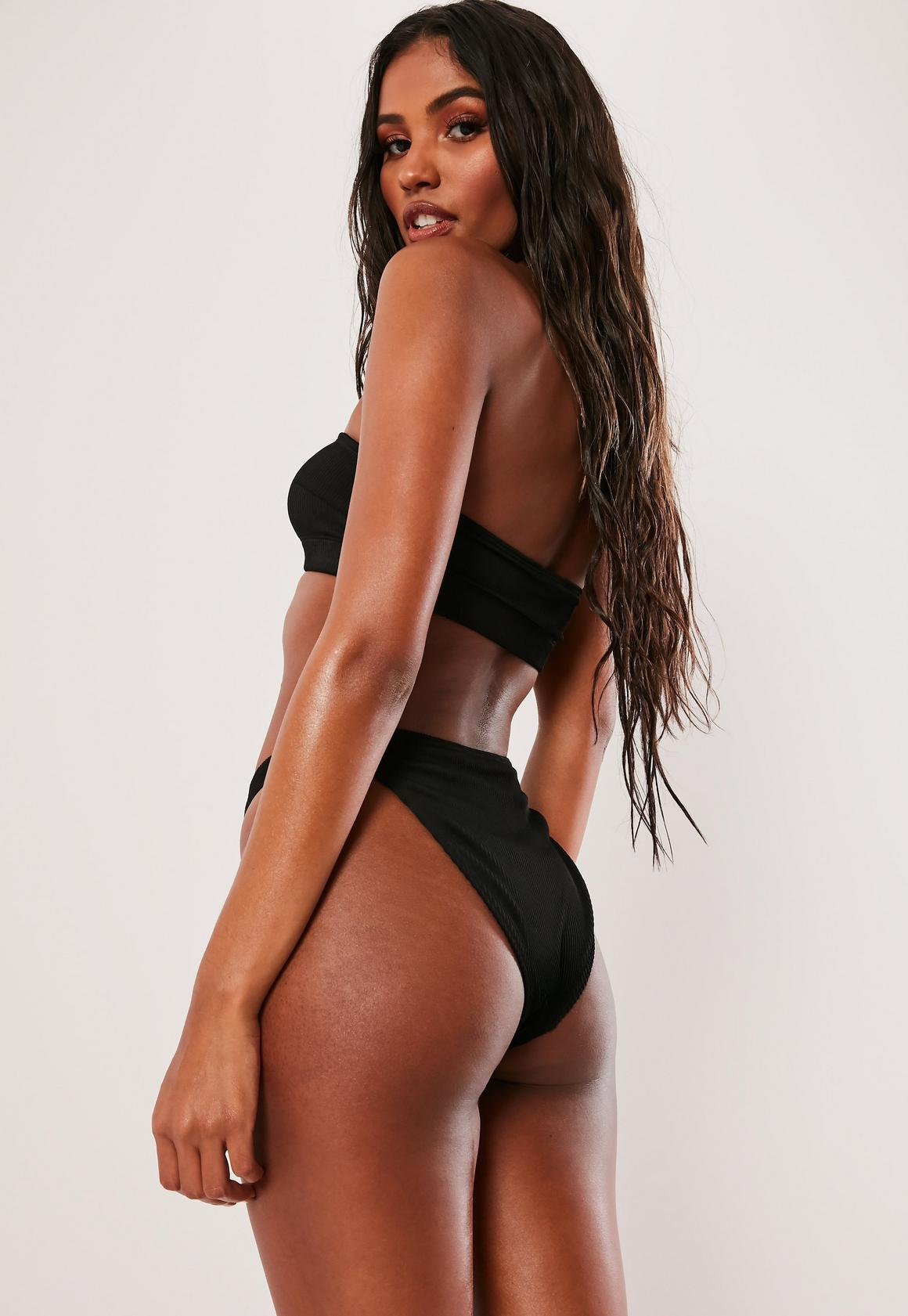 1f35f9c5a8 Missguided - Black Rib Bandeau Bikini Top Mix And Match