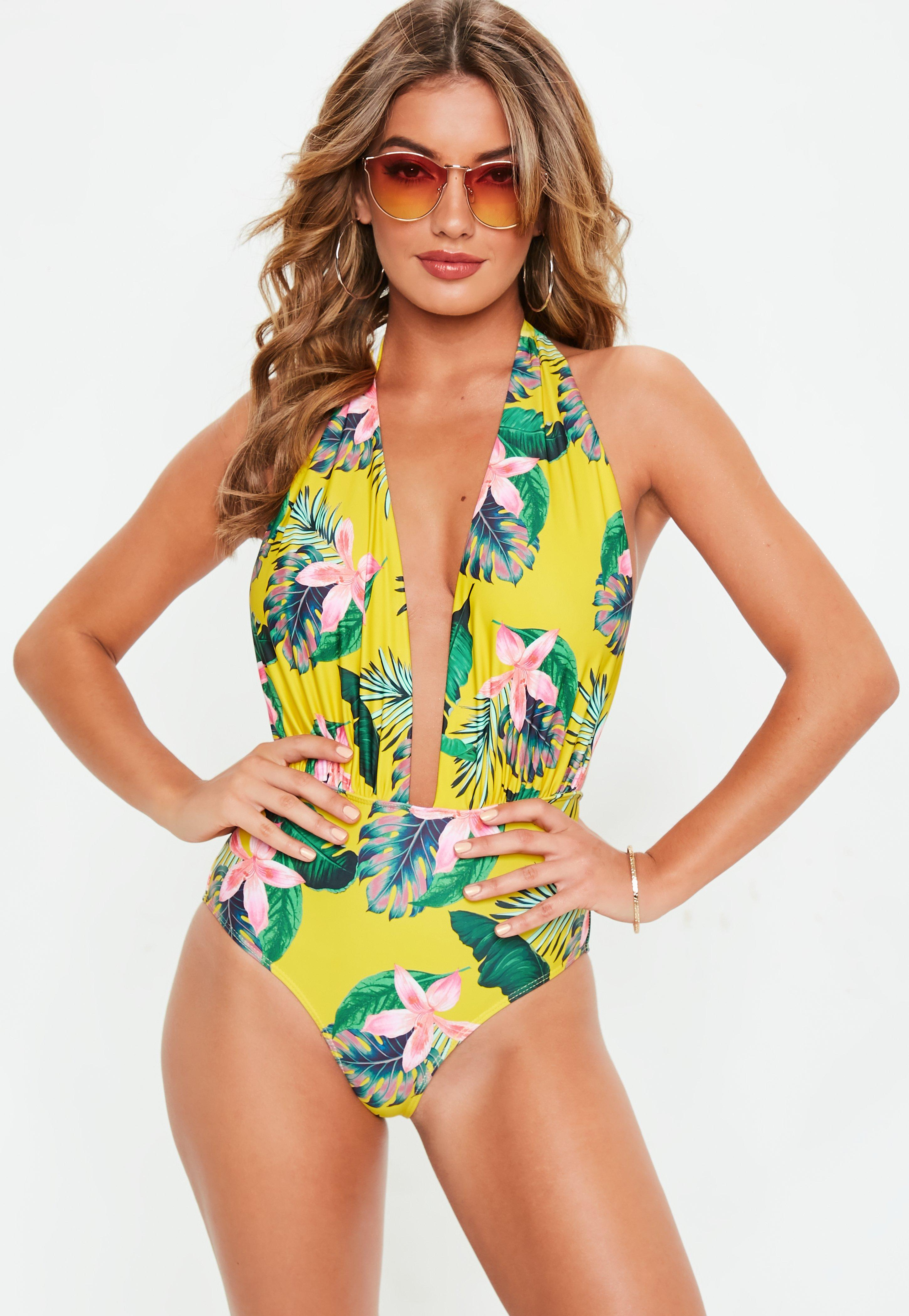 43ea111d3b327 Yellow Deep Plunge Tropical Print Swimsuit | Missguided Australia