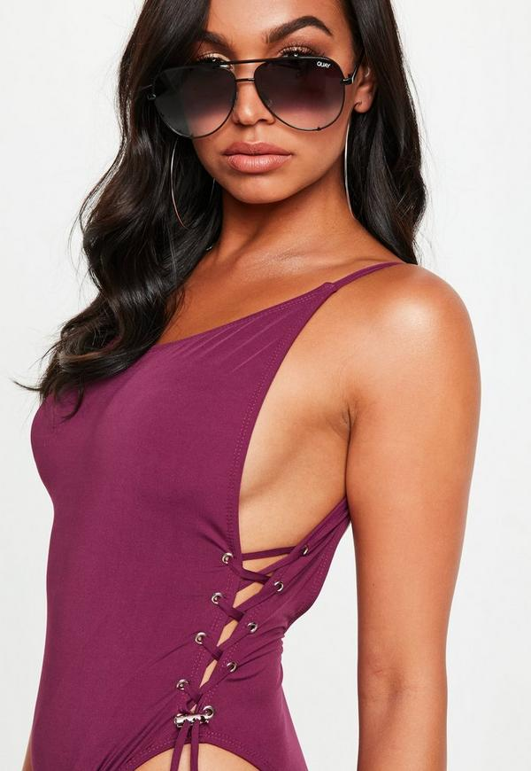 3a1fa41bf1 purple low back lace up side swimsuit. Previous Next