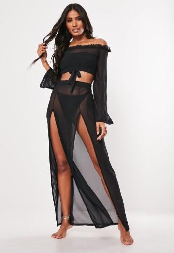 Product photo of Black mesh side split maxi skirt black