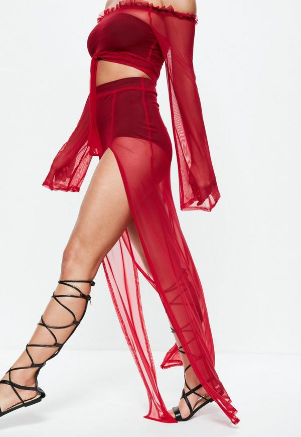 Red Mesh Side Split Maxi Skirt by Missguided