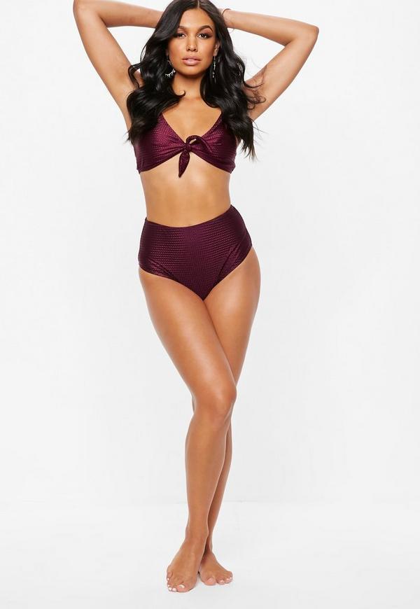 24f9546e10063 Burgundy Textured High Waisted Bikini Bottoms   Missguided Australia
