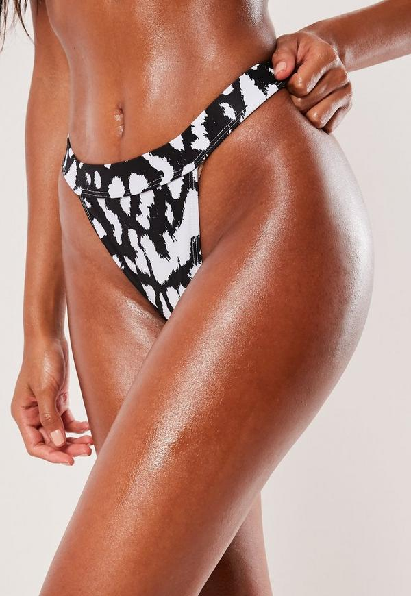 eb24df5127b3e ... White Animal Print Micro High Leg Tanga Bikini Bottoms. Previous Next